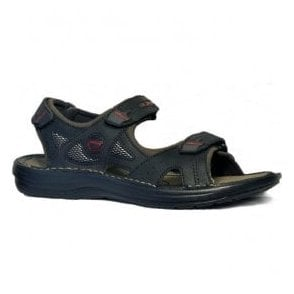 Mens Tahiti Black Leather Casual Sports Sandals