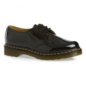 Womens 3-Eyelet 1461 Black Patent Shoes With Yellow VZ-Welt 10084001