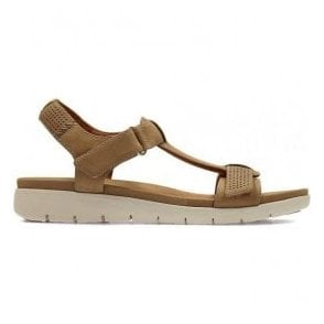 Womens Un Haywood Light Tan Leather T-Bar Sandals