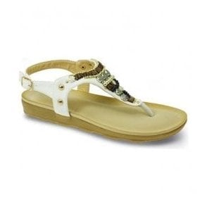 Womens Bliss White Toe Post Sandals JLH874 WT