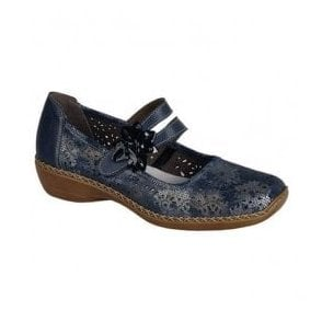 Womens Cannes Bar Shoes In Blue/Silver Combi Leather 41372-90