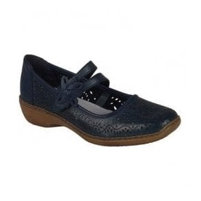 Womens Cannes Bar Shoes In Blue Leather 41372-14