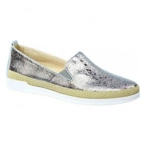 Womens Eos Grey Reptile Leather Slip On Loafers 9-24201-28 209