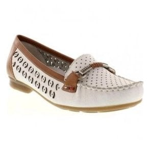 Softina White Slip On Moccasins With Buckle Detail 40085-80