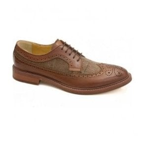 Mens Buxton Tan & Tweed Waxed/Fabric 5 Eyelet Derby Shoes