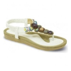 Womens Denny White Toe Post Sandals JLH789 WT