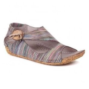 Womens Cartier Taupe Striped Leather Elasticated Button Sandals