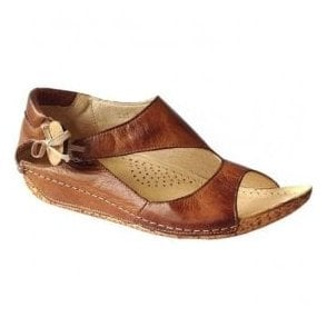 Womens Cartier Tan Leather Elasticated Button Sandals