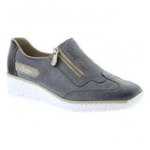 Womens Eagle Blue Combi Leather Casual Shoes 53773-12