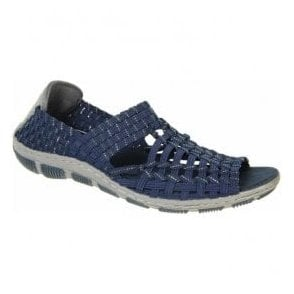 Womens Gracie Navy/Silver Elasticated Shoes A3726