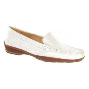 Womens June White Slip On Moccasin Loafers