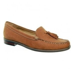 Womens Janine Tan Suede Moccasin Loafers