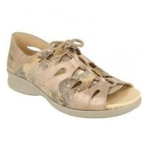 Womens Hazel Nude Floral Leather Extra Wide Shoes