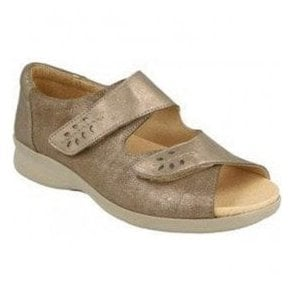 Womens Cinnamon Pewter Leather Extra Wide Shoes 78528S EE-4E (2V)