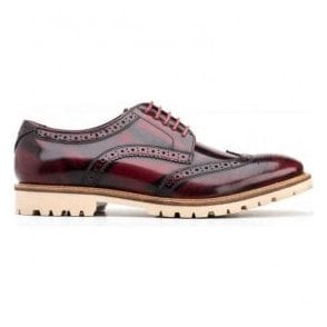 Mens Raid Hi-Shine Bordo Derby Brogue Shoes