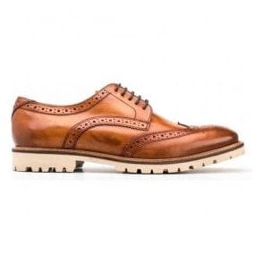 Mens Raid Washed Tan Derby Brogue Shoes