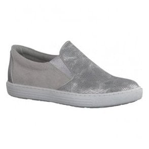 Womens Silver Slip On Casual Shoes 2-2-24613-28 948
