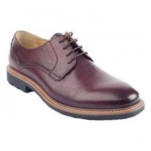 Mens Lake Burgundy 4 Eyelet Lace-Up Shoes