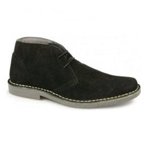 Mens Mod Black Leather Desert Boots M420AS