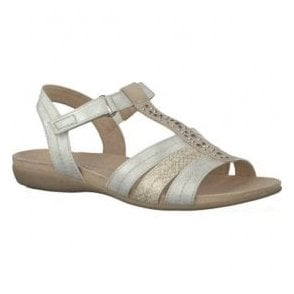 Womens White/Silver T-Bar Sandals 8-8-28165-26 191