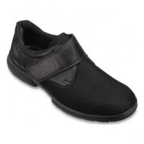 Mens Jason Black Touch Fastening Shoes 10001A EE-4E (2V)