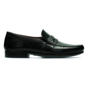 Mens Claude Aston Black Leather Slip On Loafers