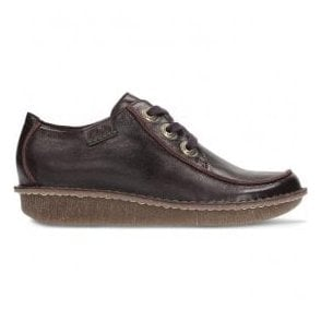 Womens Funny Dream Aubergine Leather Casual Shoes