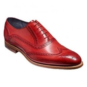 Mens Valiant Red Hand Painted Lace-Up Brogue Shoes