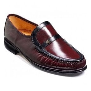 Mens Jefferson Burgundy/Black Kid Classic Moccasin Shoes