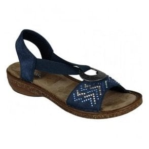 Kingston Navy Blue Elasticated Sandals 62802-14