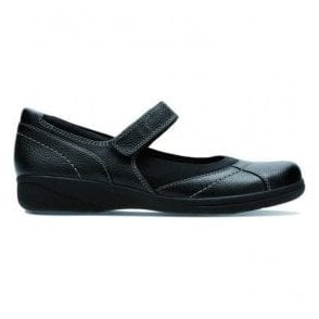 Womens Cheyn Web Black Leather Velcro Mary Jane Shoes
