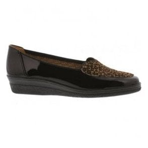Womens Blanche Black Patent/Leopard Print Loafers 76.404.87