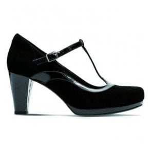 Womens Chorus Pitch Black Leather/Suede Combi T-Bar Shoes