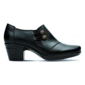 Womens Emslie Warren Black Leather Zip-Up Shoe Boots