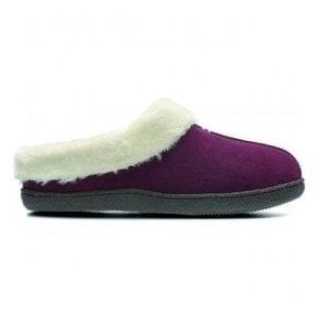 Womens Home Classic Burgundy Suede Fur Lined Slippers