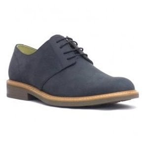 Mens Gleneagles Navy Waxed Crazy Horse 4 Eyelet Tie Shoes