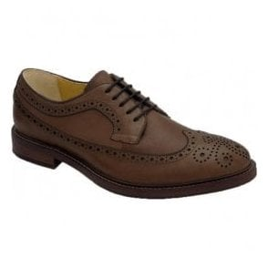 Mens Buxton Dark Tan Leather 5 Eyelet Derby Shoes