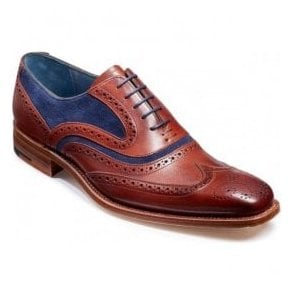 Mens McClean Rosewood Calf and Navy Suede Brogue Tie Shoes