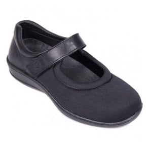Womens Walmer Black Extra Wide Velcro Strap Shoes