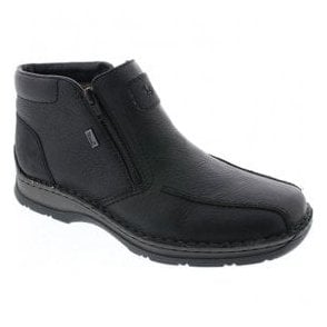 Mens Michigan Black Leather Zip Up Waterproof Ankle Boots 32363-00