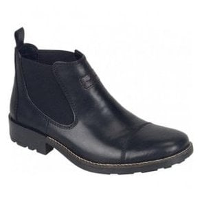 Mens Cristallin Black Leather Chelsea Boots 36063-00