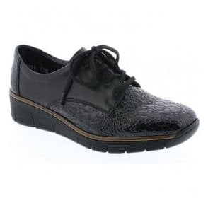 Womens Kame Black Granite Lace Up Leather Shoes 53710-45