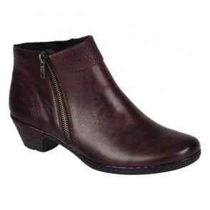 Womens Cristallin Bordo Red Zip Ankle Boots 76961-35