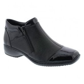 Luxor Black Patent/Leather Combi Zip Ankle Boots L3879-00