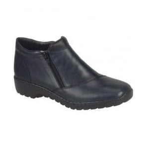 Cristallin Blue Combi Leather Zip Ankle Boots L6091-15