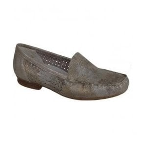 Bosnia Gold/Taupe Slip On Moccasins 40089-94