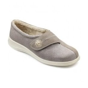 Womens Wrap Truffle/Glitter Suede/Textile Velcro Slippers