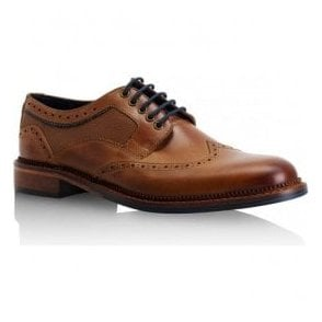 Mens Alfred Tan Leather Derby Brogue Shoes