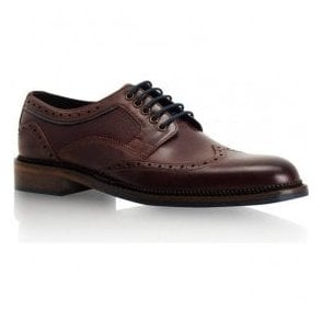 Mens Alfred Dark Bordo Leather Derby Brogue Shoes