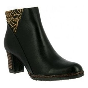 Womens Angela 12 Noir Zip Up Heeled Ankle Boots